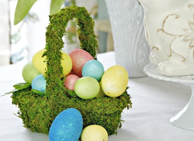 DIY moss Easter basket