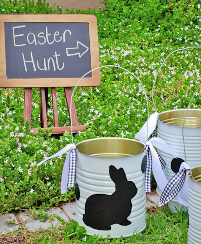 Easter hunt tin can