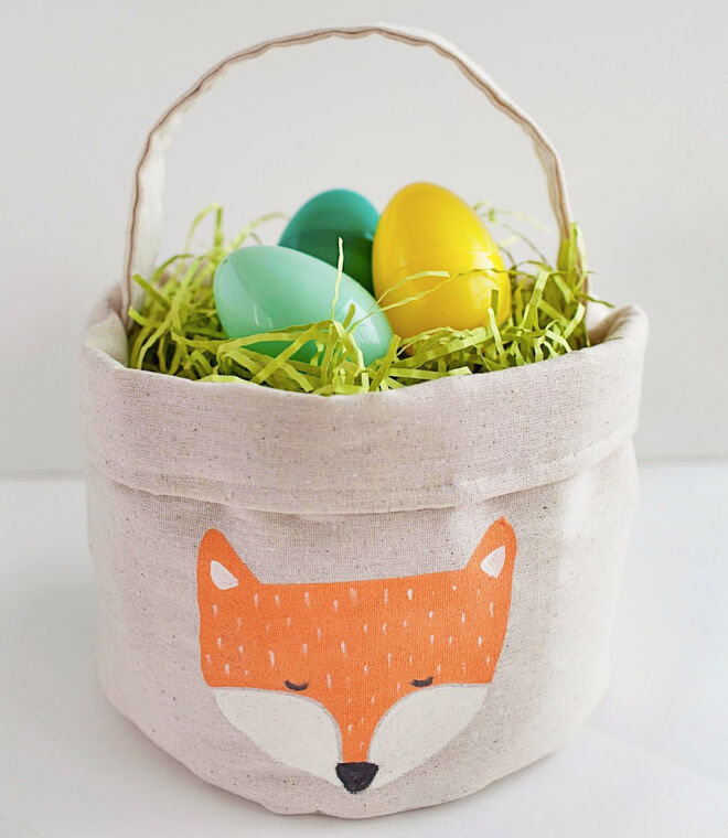 Easy fabric Eater basket with fox motif