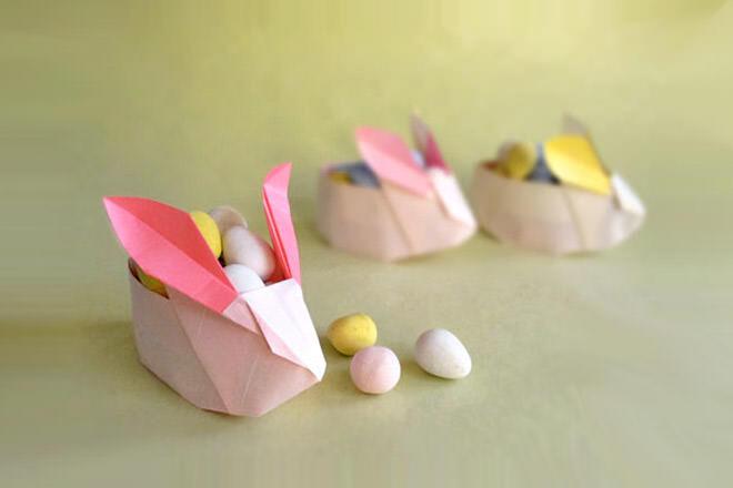 Origami Easter Bunny basket