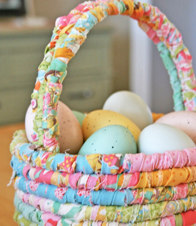 31 diy easter baskets for your little bunnies mums grapevine rolled fabric easter basket tutorial negle Images