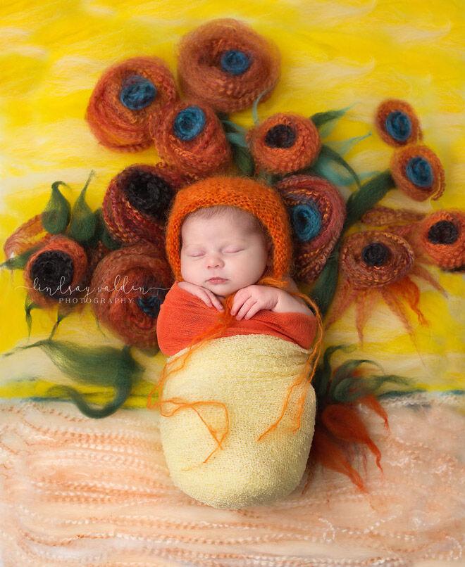 Lindsay Walden newborn photography sunflowers