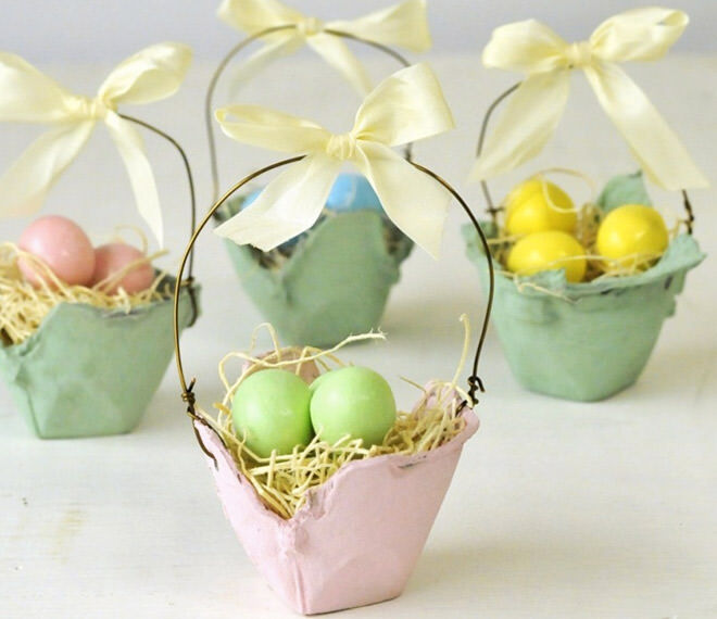 Upcycled mini Easter baskets