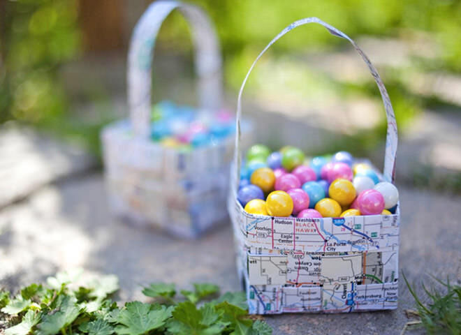 Woven map Easter basket
