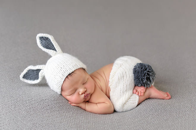 Newborn knitted suit. Easter gifts that contain no added sugar.