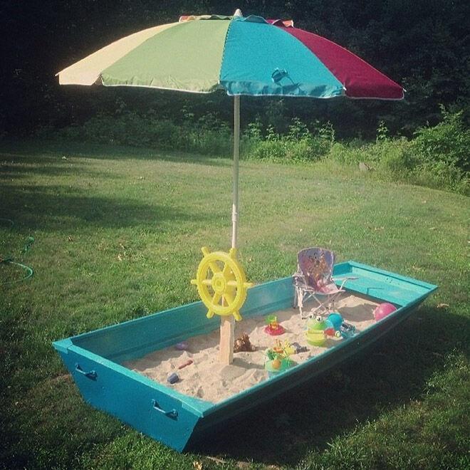 DIY Boat Sandpit. Outdoor play ideas.