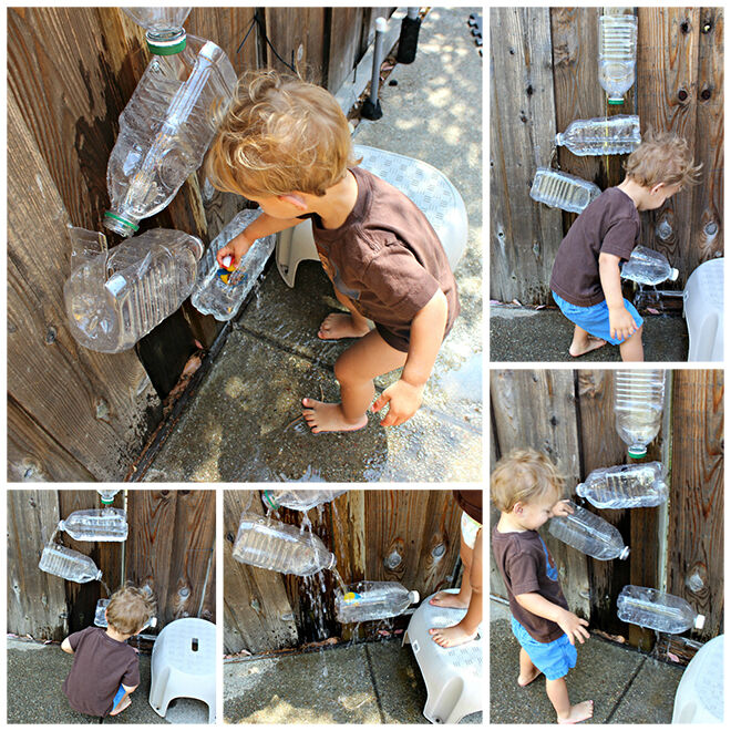 Water bottle fountain. Outdoor play ideas.