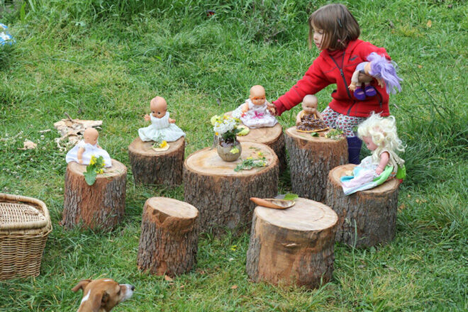 Re-using stumps. Outdoor play areas.