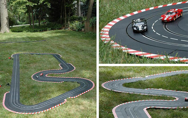 Miniature Scale Slot Car Race Track