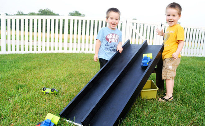 Nifty Mom. How to make a backyard racing track.