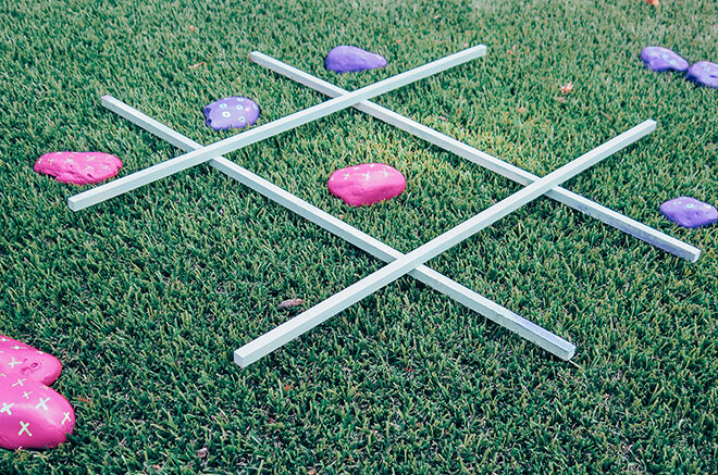 Get outside and make your own tic tac toe.