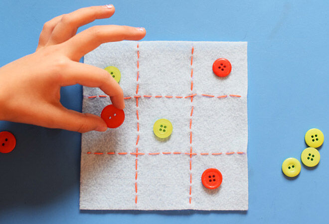 Make a DIY Tic Tac Toe with buttons.
