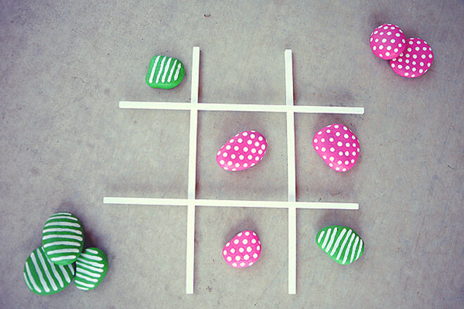 Pink and green rocks. Outdoor Tic Tac Toe,