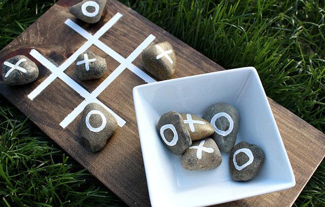 Stones make a great outdoor Tic Tac Toe.