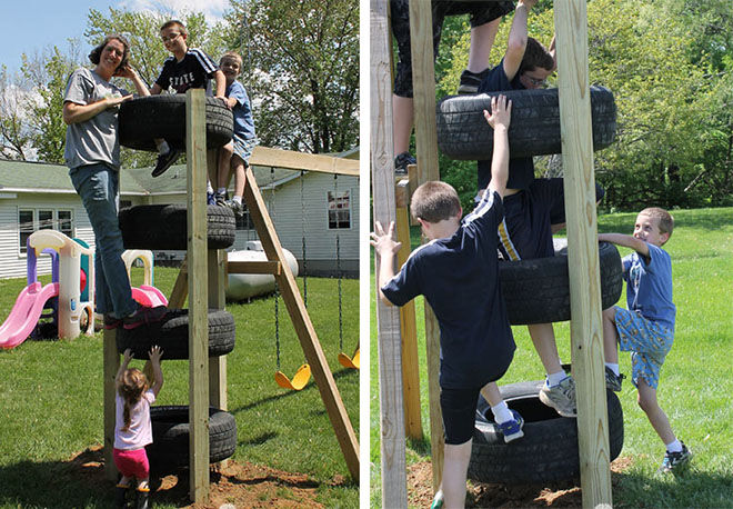 Climbing wall using recycle tyres.