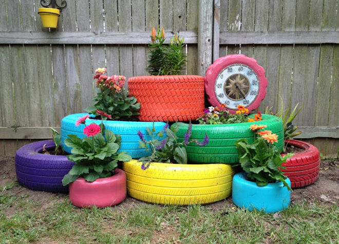 Tyre Garden. Ways to recycle old tyres