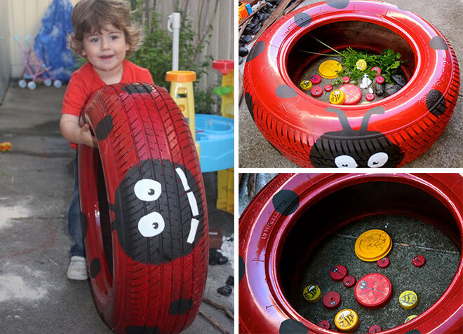 Decorate a tyre like a ladybird.