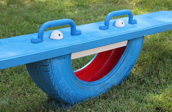 Tyre Totter. Recycling tyre ideas.