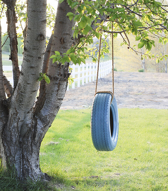 Tyre swing. How to turn tyres into fun.