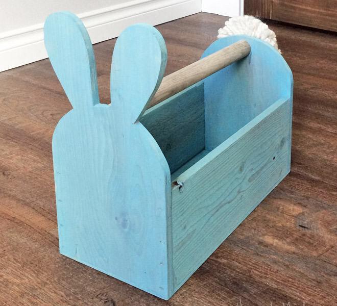 wood Easter basket bunny-shaped trug