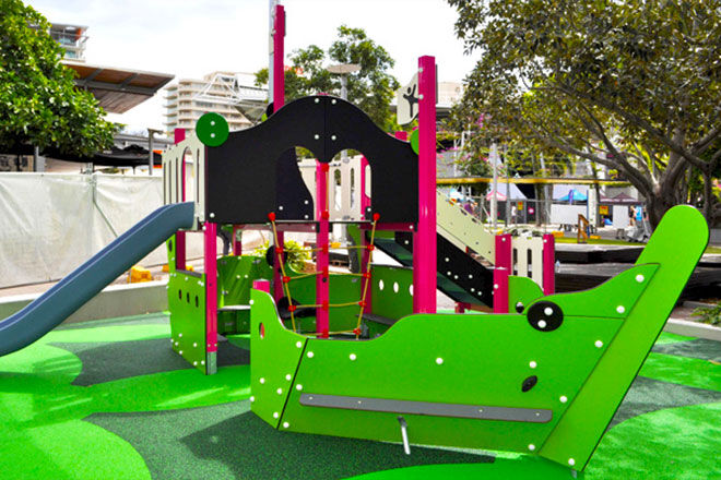 Boat in Riverside Green Playground South Bank Brisbane is fun for everyone