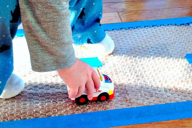 sensory play toy car bubble