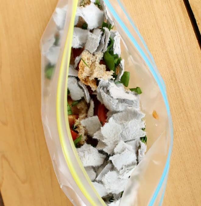Compost in a sandwich bag. An easy and quick way to show kids how composting works.