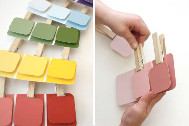 Toddler busy bags paint chips and pegs