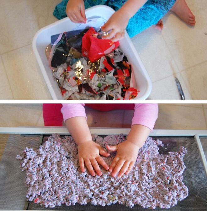 Making recycled paper. Earth Day Activities for Kids.