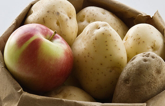 Keep one apple with your potatoes to keep them fresher for longer.