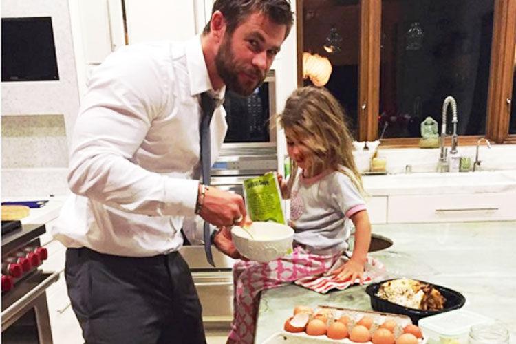 Birthday cake baking Chris Hemsworth
