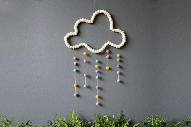 Felt ball cloud mobile form Etsy shop Stef Collections