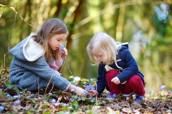 Nature-play-girls-picking-flowers