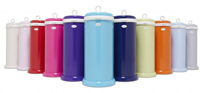 Ubbi nappy bin group with blue in front