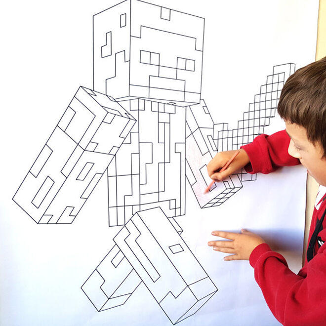 Giant Steve Colouring Poster. The ultimate Minecraft gift guide.