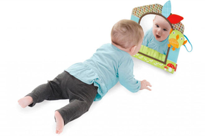 tummy time with a skip hop mirror