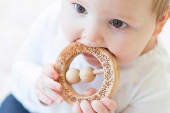 wooden teething ring by Finch and Folk