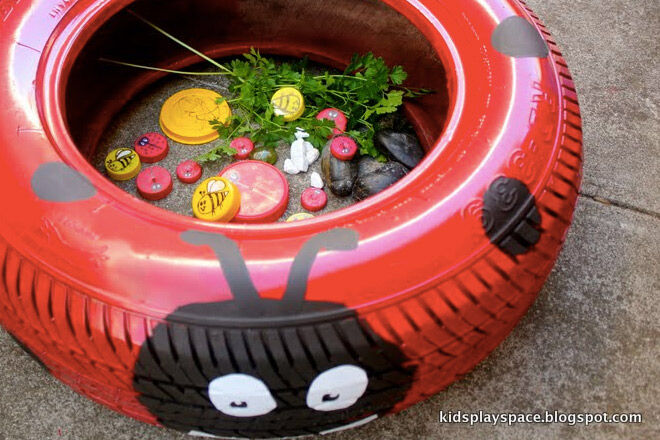 Recycle re-use tyres ladybird