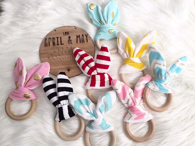 Bunny teethers from April & May