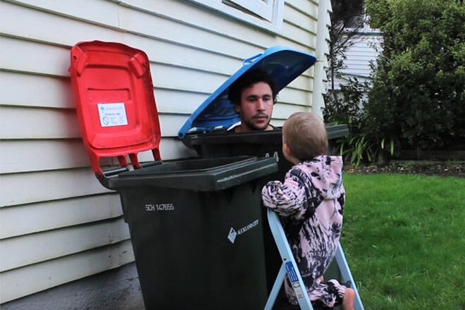 dad rubbish bin baby clean
