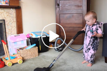 dad cleaning housework youtube video baby