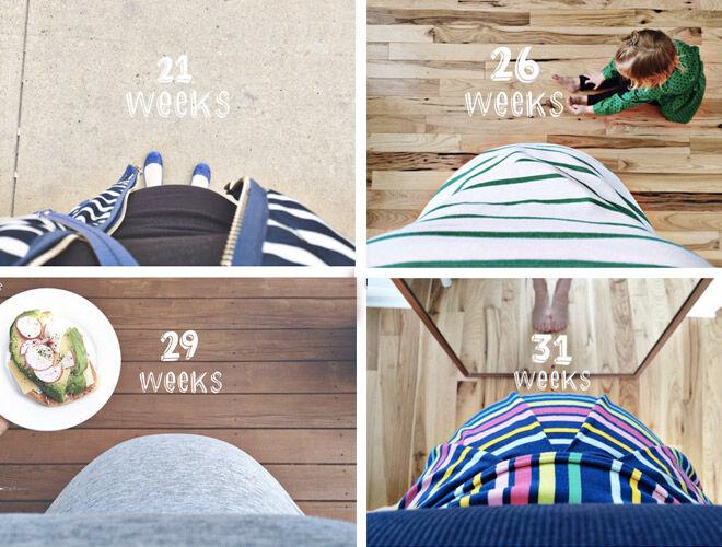 Pregnancy week by week photo record bump