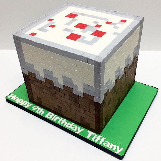 minecraft cake birthday video game