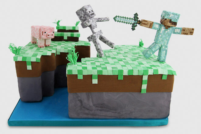 minecraft cake birthday video game