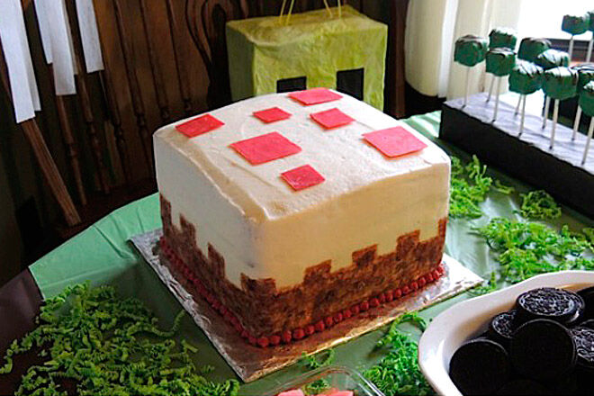 minecraft cake birthday kid party