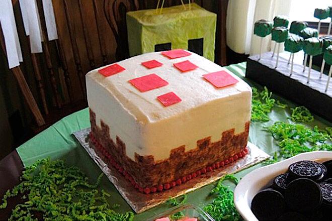 minecraft cake birthday kid party