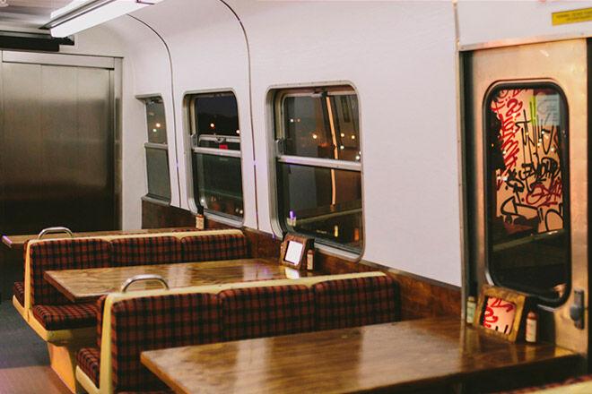 burger train victoria collingwood melbourne eat rail carriage