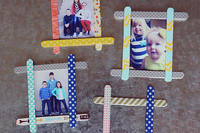 DIY fathers day gift pop stick frame