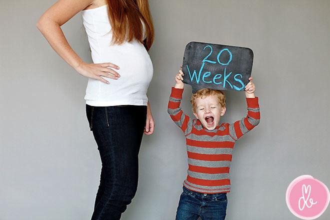 Pregnancy week by week photo record sibling
