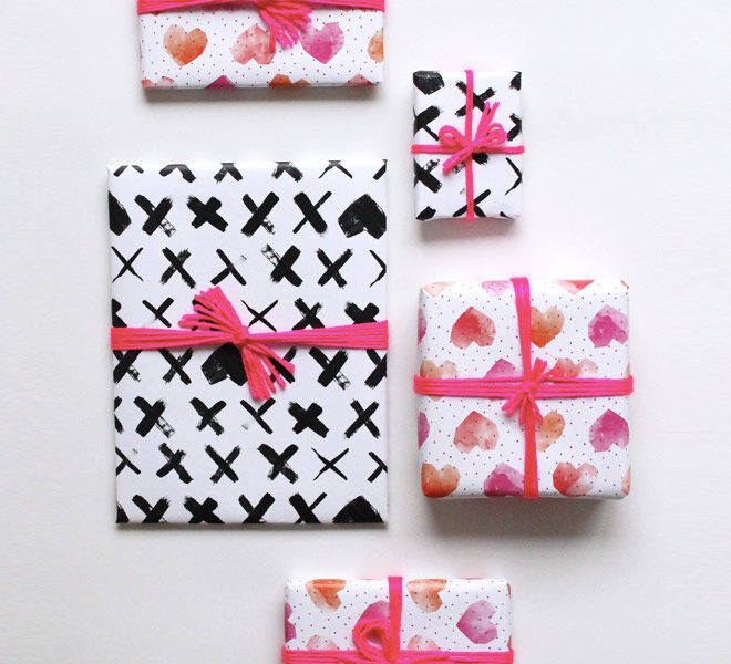 Printable gift wrap wrapping paper hearts and crosses